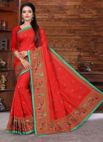 Red Dola Silk Wedding Wear Embroidery Work Saree
