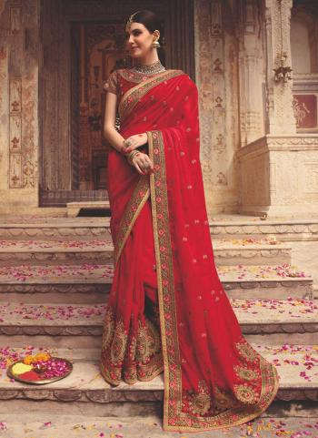 Red Fancy Reception Wear Embroidery Work Saree