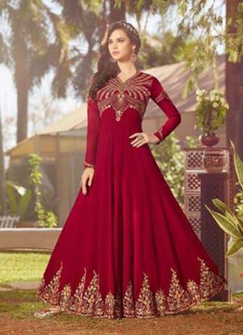 Red Faux Georgette Wedding Wear Embroidery Work Anarkali Style
