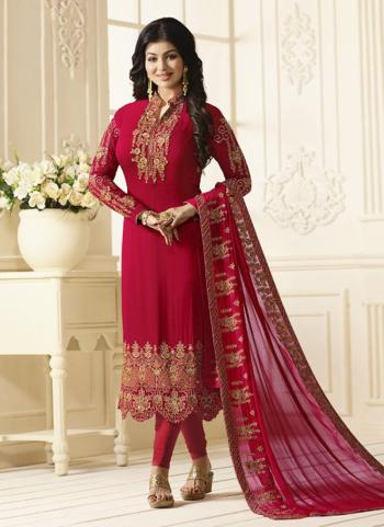 Red Georgette Party Wear Embroidery Work Churidar Suit