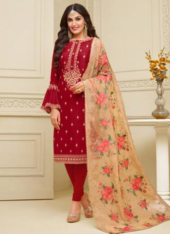 Red Georgette Satin Party Wear Embroidery Work Churidar Suit