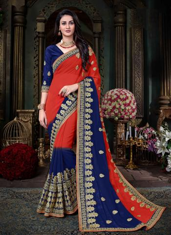 Red Georgette Silk Party Wear Zari Embroidery Work Saree