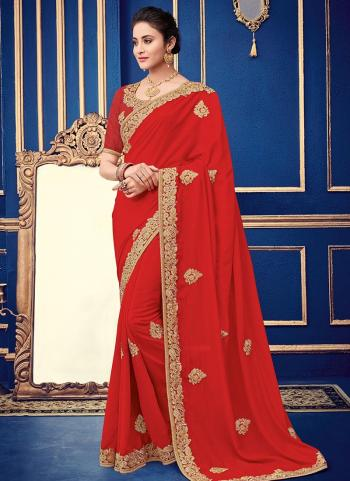 Red Georgette Wedding Wear Border Work Saree