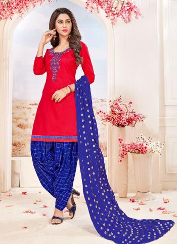 Red Glace Cotton Regular Wear Embroidery Work Patiala Style