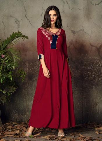Red Heavy Rayon Casual Wear Embroidery Work Long Kurti