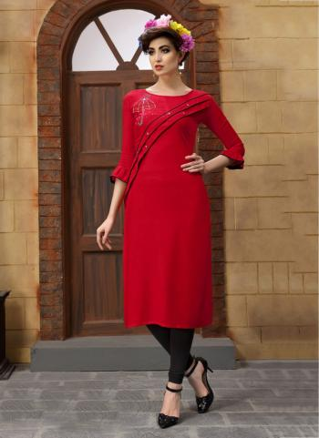 Red Heavy Rayon Regular Wear Embroidery Work Kurti