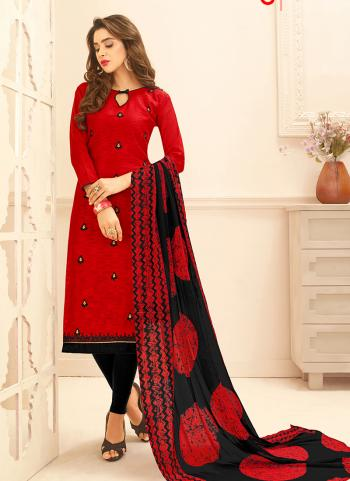 Jacqaurd Red Daily Wear Embroidery Work Churidar Suit