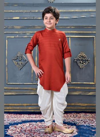 Red Modal Satin Party Wear Pleats Work Kids Dhoti Kurta
