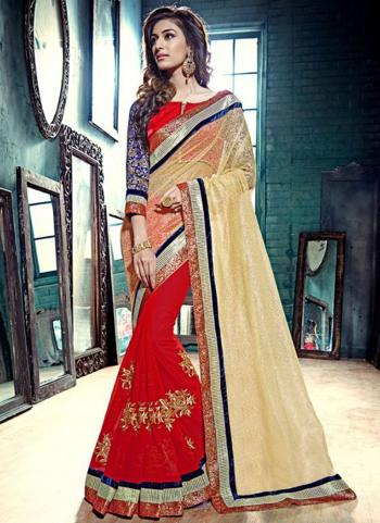 Red Net Party Wear Embroidered Work Saree