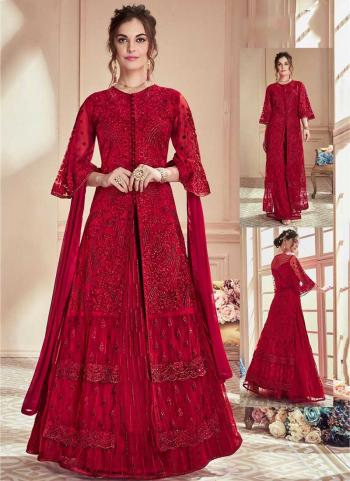 Red Net Reception Wear Embroidery Work Salwar Suit
