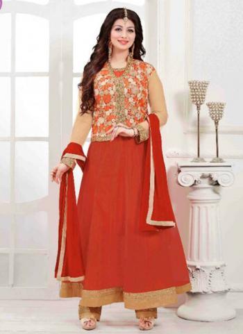 Red Net Wedding Wear Embroidered Work Anarkali Suit