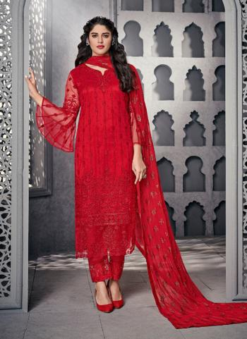 Red Net Wedding Wear Embroidery Work Straight Suit