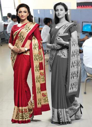 Red Poly Cotton Daily Wear Border Work Uniform Saree
