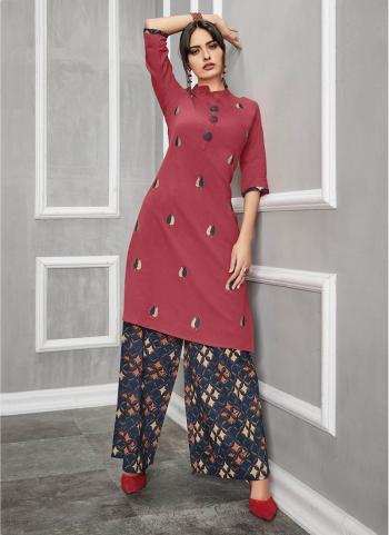 Red Pure Cotton Regular Wear Embroidery Work Kurti With Palazzo