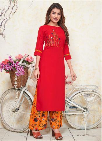 Red Rayon Casual Wear Printed Work Kurti With Palazzo
