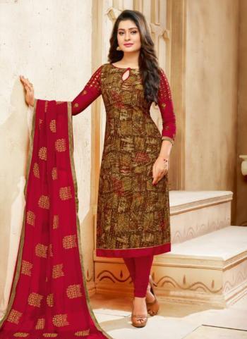 Red Rayon Cotton Regular Wear Printed Work Churidar Style