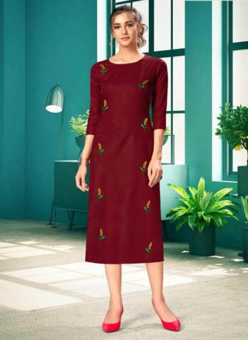 Red Rayon Daily Wear Embroidery Work Kurti