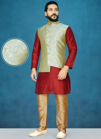 Red Raw Silk Traditional Wear Jacquard Kurta Pajama With Jacket
