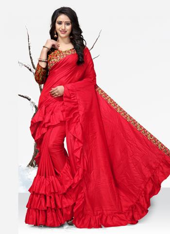 Red Sana Silk Casual Wear Lace Work Saree
