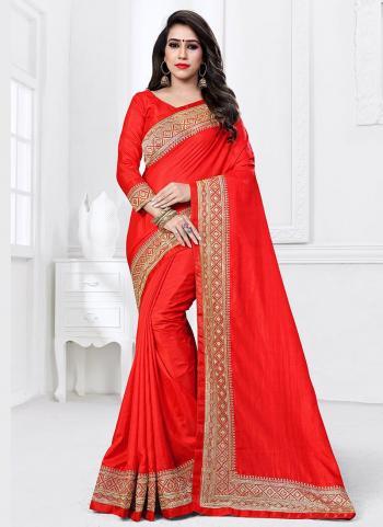 Red Sana Silk Party Wear Border Work Saree
