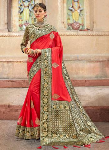 Red Sana Silk Wedding Wear Border Work Saree