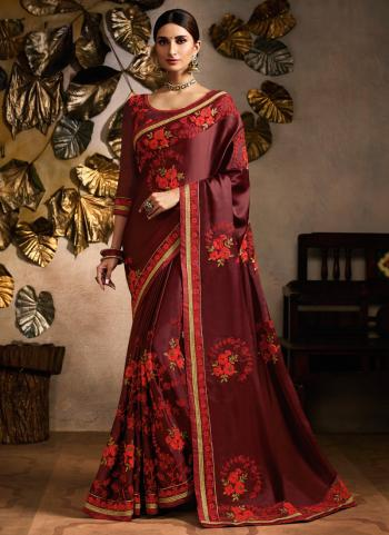 Red Satin Party Wear Embroidery Work Saree