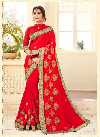 Red Satin Silk Party Wear Embroidery Work Saree