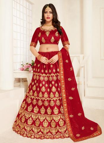 Red Satin Silk Wedding Wear Embroidery Stone Work Lehenga Choli