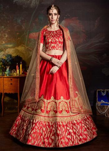 Red Satin Wedding Wear Zari Embroidery Work Lehenga Choli