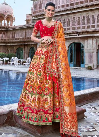 Red Silk Bridal Wear Weaving Lehenga Choli
