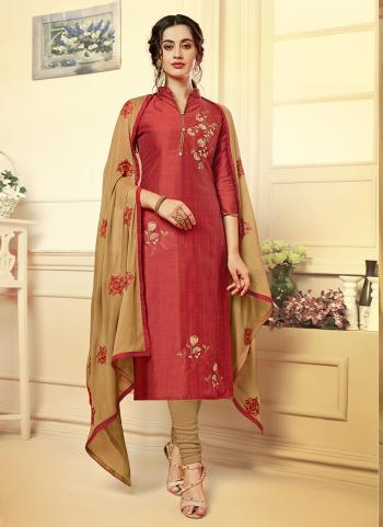 Red Silk Daily Wear Embroidery Work Churidar Suit