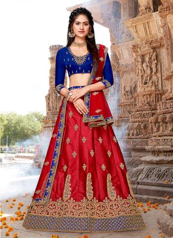 Red Silk Festival Wear Embroidery Work Lehenga Choli