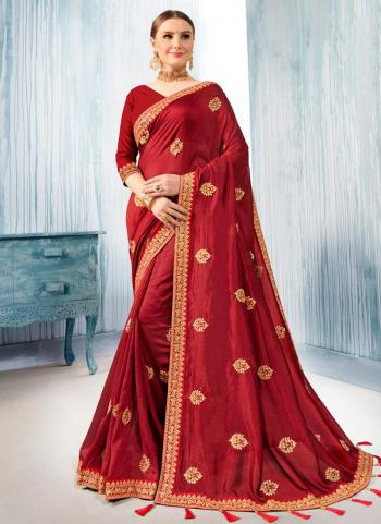Red Silk Festival Wear Embroidery Work Saree