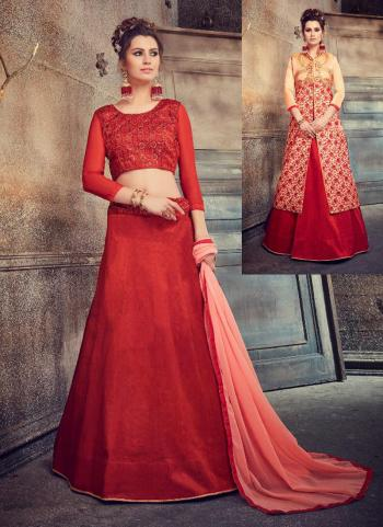 Red Silk Party Wear Embroidery Work Lehenga Choli