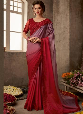 Red Silk Party Wear Embroidery Work Saree