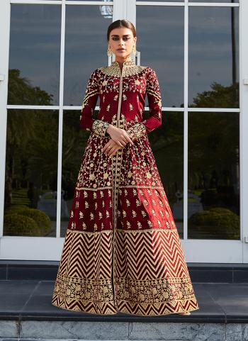 Red Silk Reception Wear Embroidery Work Anarkali Suit
