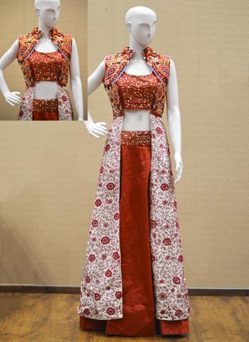 Red Silk Reception Wear Embroidery Work Salwar Suit