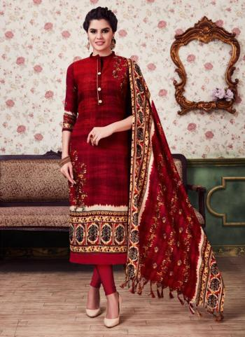 Red Silk Regular Wear Printed Work Churidar Suit
