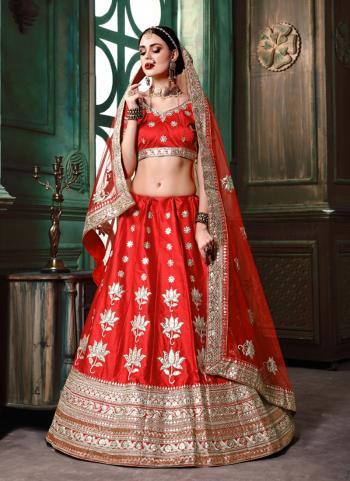 Red Silk Wedding Wear Sequins Work Lehenga Choli