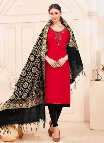 Red And Black Slub Cotton Daily Wear Hand Work Churidar Suit