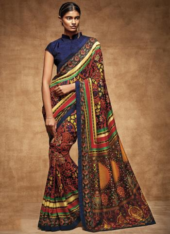 Red Tussar Silk Party Wear Printed Saree