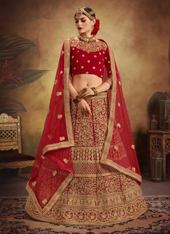 Red Velvet Bridal Wear Heavy Embroidery Work Lehenga Choli