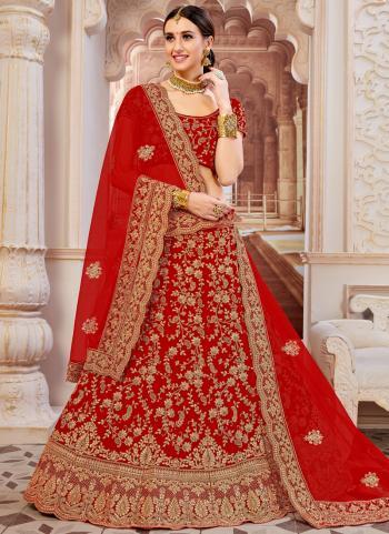 New Designer Red Velvet Bridal Wear Zari Work Lehenga Choli