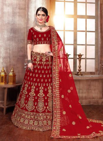 Red Velvet Wedding Wear Embroidery Work Lehenga Choli