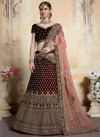 Velvet Maroon Thread Work Wedding Wear Lehenga Choli