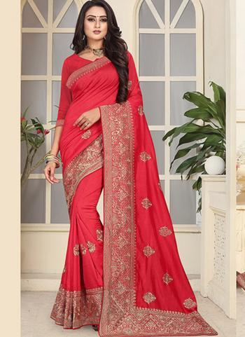 Red Vichitra Silk Wedding Wear Heavy Border Work Saree