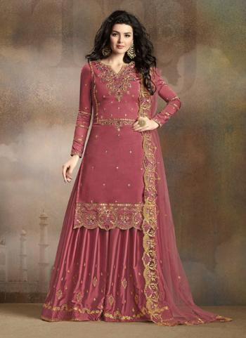 Rose Gold Soft Silk Festival Wear Embroidery Work Sharara Suit
