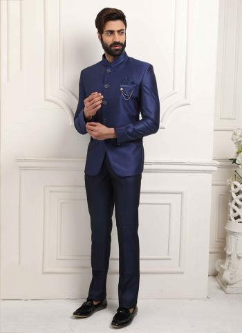 Royal Blue Jodhpuri Party Wear Fancy Work Jacket And Pant