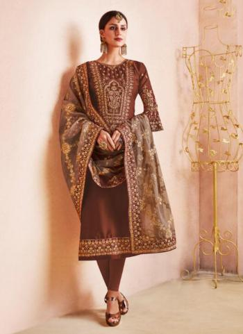 Rust Georgette Satin Casual Wear Embroidery Work Churidar Suit