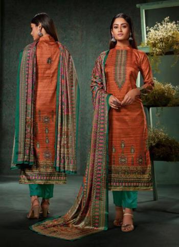 Rust Magic Silk Casual Wear Digital Print Straight Suit